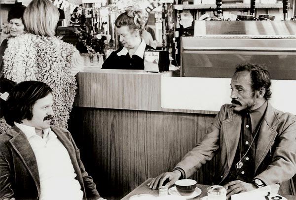 A.D. Winans & Bob Kaufman at Cafe Trieste in 1976. Photo © Richard Morris, 1976