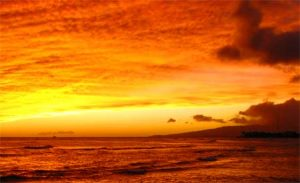 Hawaii sunset, copyright by goodmorph via sxc.hu