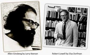 Allen Ginsberg by Larry Keenan. Robert Lowell by Elsa Dorfman. Both copyright by their respective creators
