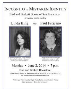 Poetry Reading: Linda King and Paul Fericano in SF – June 2 2014