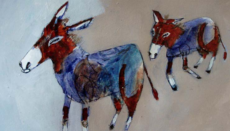 donkeys find an opening (detail) - Jill Emery