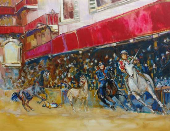 Red Palio painting Alison Winfield-Burns