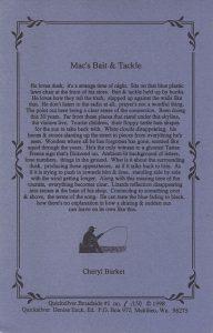 Cheryl Burket - Mac's Bait and Tackle