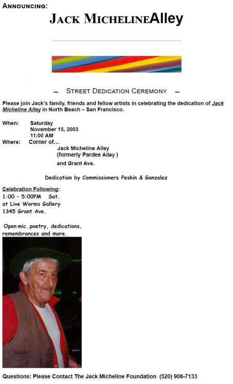 Jack Micheline Alley celebration flyer