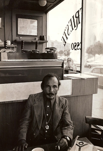 Bob Kaufman photographed by A.D. Winans at Cafe Trieste in North Beach, 1976. copyright A.D. Winans 1976