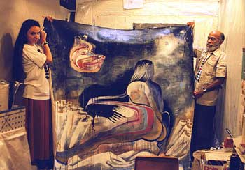 Laura Corsiglia, Ted Joans, & Laura's painting, 1999, Seattle, photo by Bernie Mindich