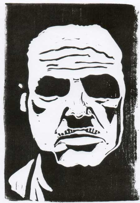 Marlon Brando (copyright Loren Kantor / http://woodcuttingfool.blogspot.com/)