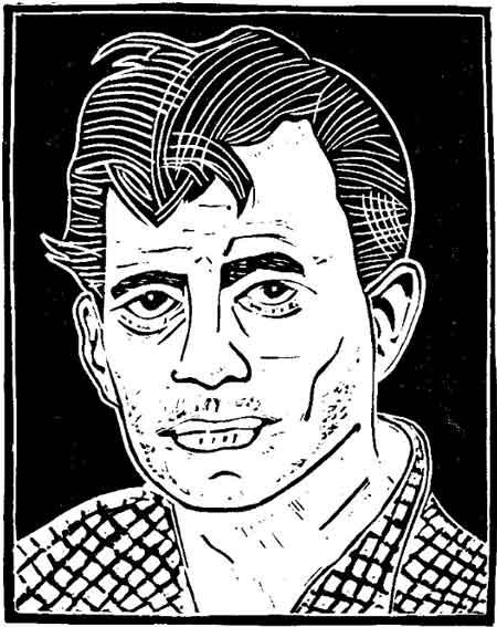 Jack Kerouac (copyright Loren Kantor / http://woodcuttingfool.blogspot.com/)