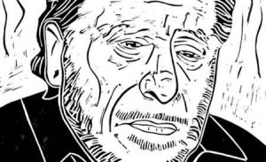 Charles Bukowski (copyright Loren Kantor / http://woodcuttingfool.blogspot.com/)