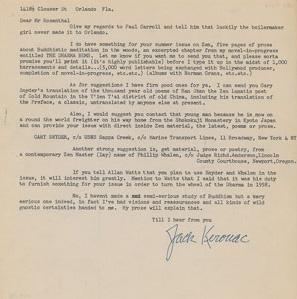 Kerouac 1958 Letter