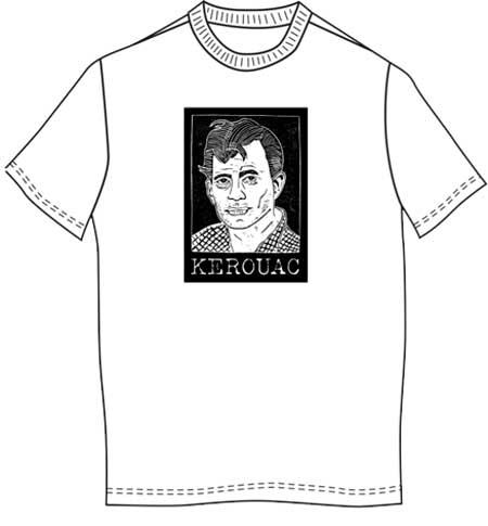 Jack Kerouac T-Shirt - Woodcut by Loren Kantor