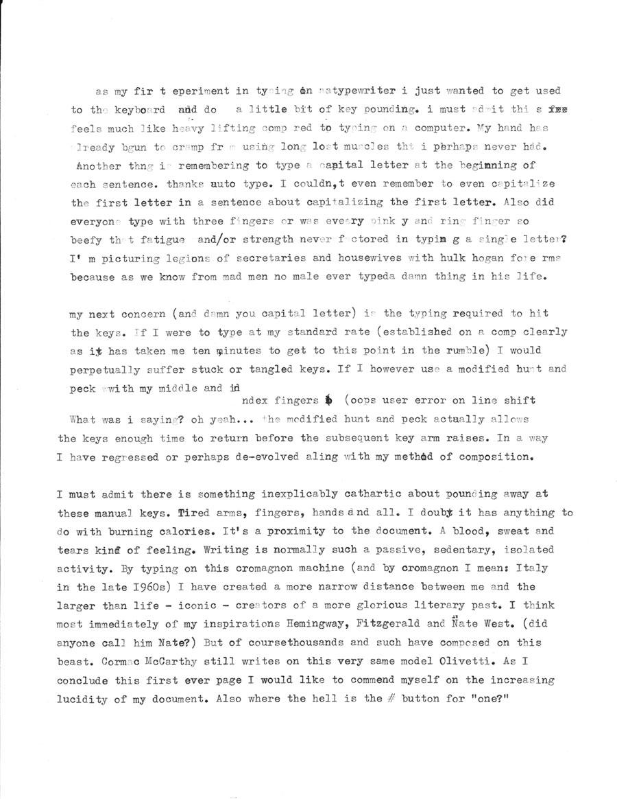 James Patrick - Typewriter Experiment #1