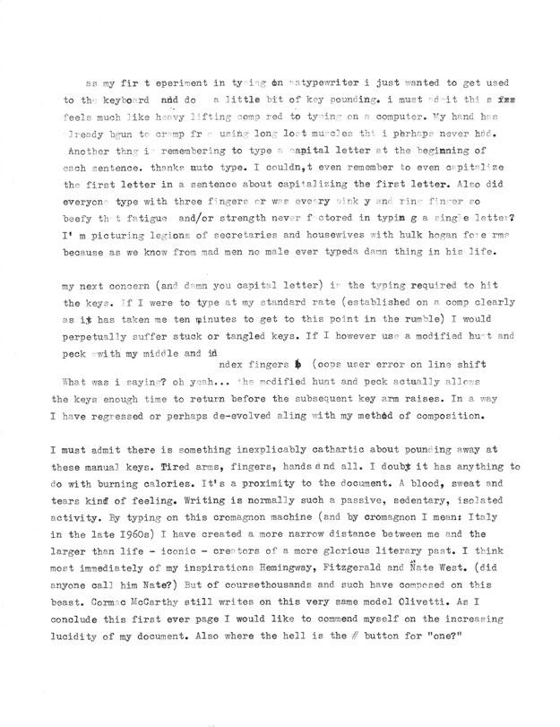 James Patrick Typewriter Experiment #1