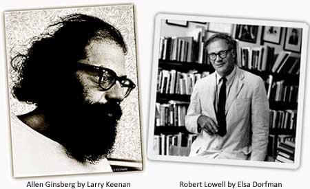 Allen Ginsberg by Larry Keenan. Robert Lowell by Elsa Dorfman. Both copyright by their respective creators