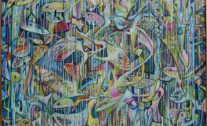 Rik Lina - FISH FIËSTA 1998 (detail), tempera and oilpaint on linen, 110x100cm