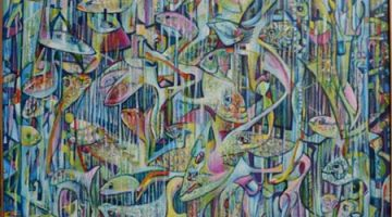 Rik Lina - FISH FIËSTA 1998 (detail), tempera and oilpaint on linen, 110x100cm