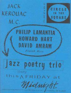 1957 handbill: Kerouac, Howard Hart, Lamantia and Amram