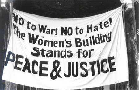 Anti War banner, Women's Building, San Francisco 2004