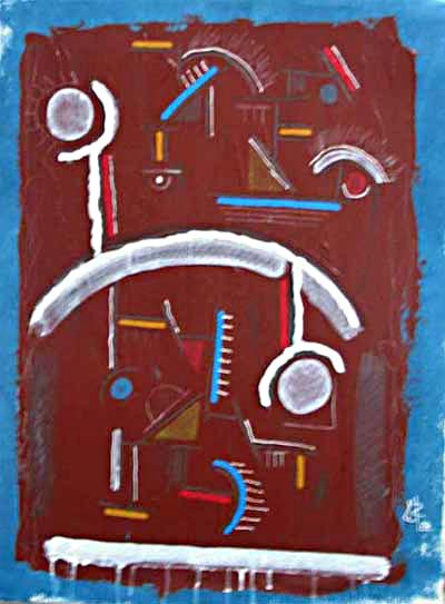 "Balance, Mixed media on paper, 22"" x 32"" by Kurt Rostek"