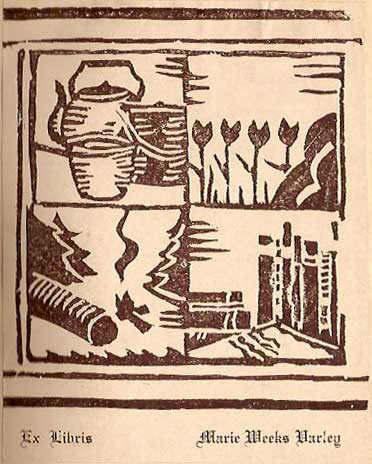 woodcut vintage bookplate