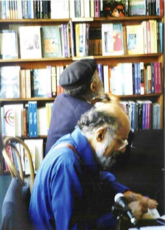 Allen Ginsberg and Ted Joans, City Lights Bookstore book signing, 2000