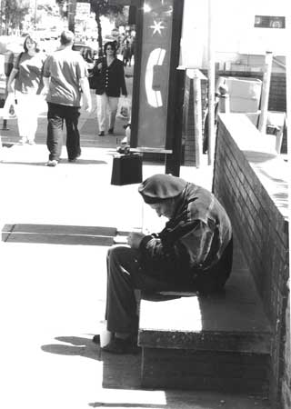 Hunchback homeless man, Noe Valley, San Francisco. 2002