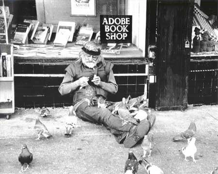 Pigeon man, outside Adobe Bookstore, SF, 2002