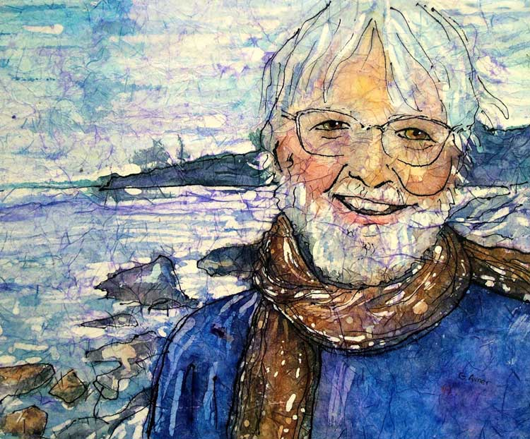 Batik Portrait of a Poet by Gloria Avner