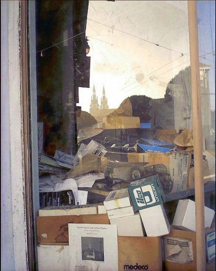 Shop Window with Reflection of Cathedral in the Glass -- Tisa Walden