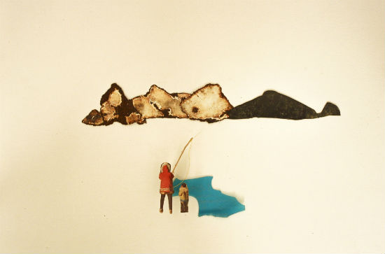 Father and Son fishing in Lost Landscape - Elza Zijlstra