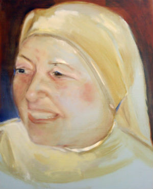 Portrait of Madrina (godmother Abbess) by Alison Winfield Burns, oil on board, 2009