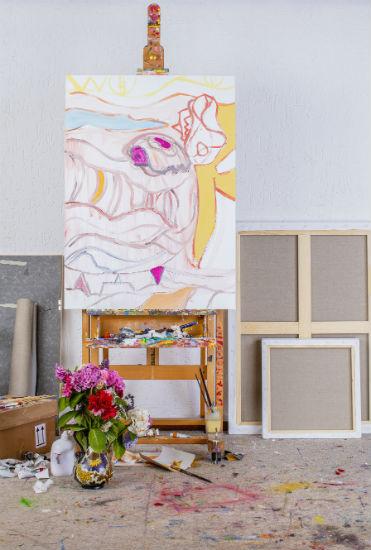 Icarus Improvisation, 110 x 80 cm, acrylics & oils on canvas, 2017. Studio, Joost de Jonge