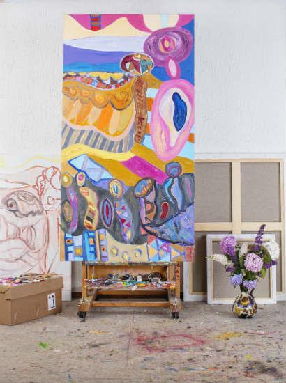 Icarus/Journey of the Soul, 170 x 90 cm, acrylics & oils on canvas, 2017. Studio - Joost de Jonge