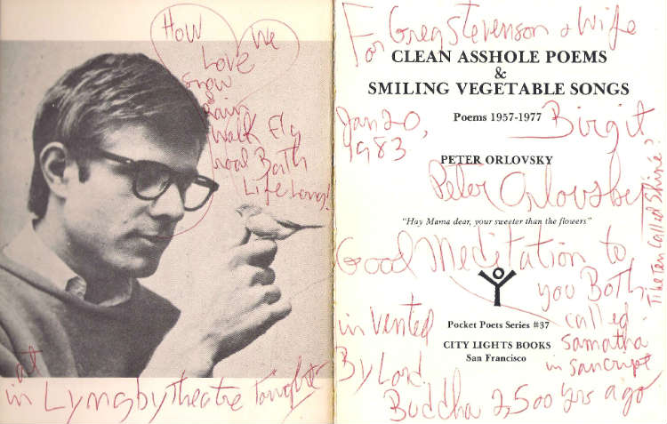Orlovsky inscription, Clean Asshole Poems and Smiling Vegetable Songs
