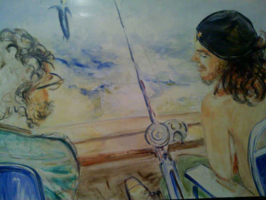 """Che Guevara and Fidel Castro Marlin Fishing"" by Alison Winfield-Burns. Oil on board, 2012."