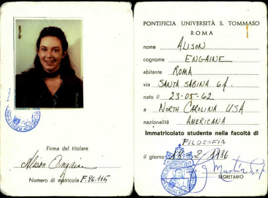 Alison's ID for the Angelicum