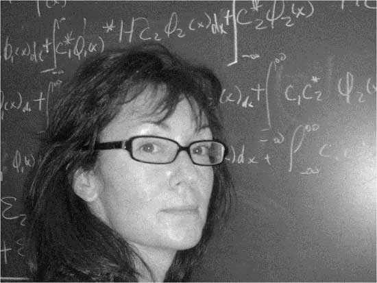 Alison at a blackboard finding Eigenvalues, 2007