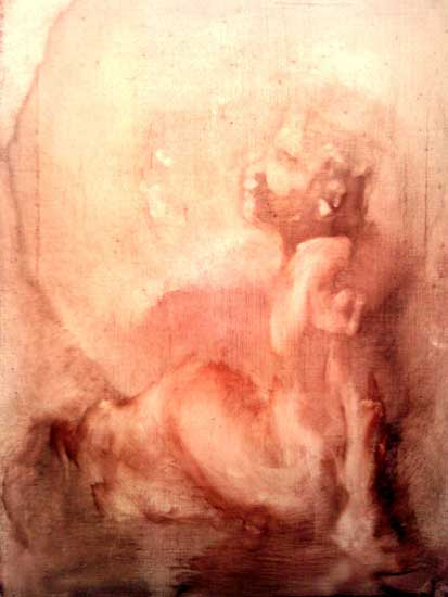 Jesus as a Young Boy by Alison Winfield-Burns, oil on canvas with eggshell marble gesso and one pigment, 2000