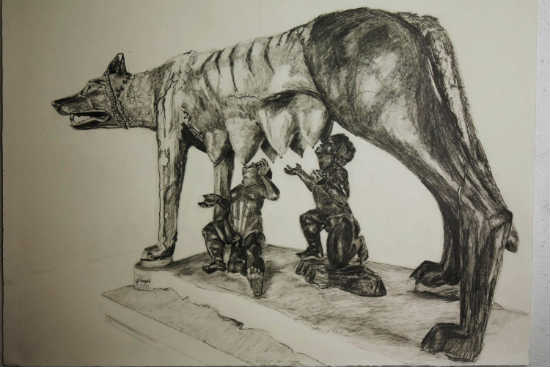 """She-Wolfie of Rome with Twins,"" by Alison Winfield-Burns, pencil on paper"