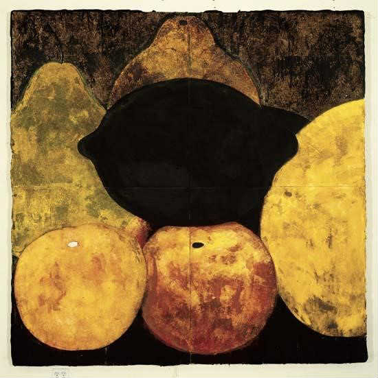 Donald Sultan: Three Apples, Three Pears, and a Lemon (1986)