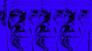 William Burroughs, portrait by Graziano Origa, pen & ink, 1997