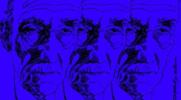 William Burroughs, portrait by Graziano Origa, pen & ink, 1997