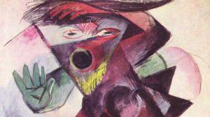 """Figs.03: Franz Marc, Caliban, 1914. (Figure for Shakespeare's """"Der Sturm"""". Tempera, 46 x 39.5 cm.) Kunstmuseum Basel, Kupferstichkabinett der öffentlichen Kunstsammlung, Switzerland."""