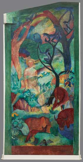 Fig.05: August Macke und Franz Marc, Paradies, 1912. (Mural of various materials 1.80 x 4 m.) Originally in August Macke's atelier in Bonn, now at Westfälisches Landesmuseum, Münster, Germany.