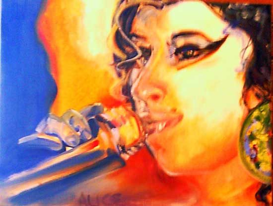 Alison's painting of Amy Winehouse