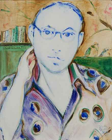 Blue Poet: Sam Kashner, oil on board by Alison signed Alice, 2011
