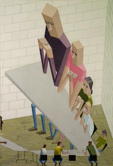 Fig. 3: Faculty Meeting, 2008. Acrylic, mixed media on canvas. Collection of Beth Rudin DeWoody. ©Mernet Larsen