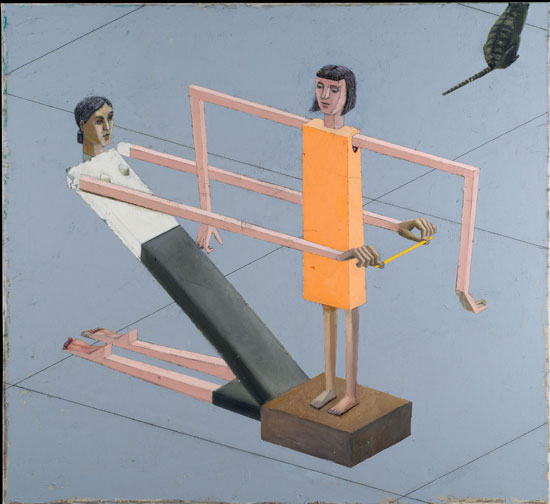 Fig. 4: Getting Measured, 1999. Acrylic, tracing paper and string on canvas. Collection of The John and Mable Ringling Museum of Art, the State Art Museum of Florida, Florida State University. ©Mernet Larsen