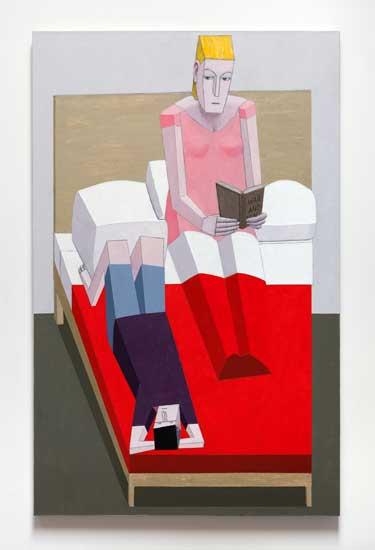 Fig: 5: Reading in Bed, 2015. Acrylic and mixed media on canvas. Collection of Miyoung Lee and Jiwon Simpkins. Image courtesy James Cohan, New York. ©Mernet Larsen