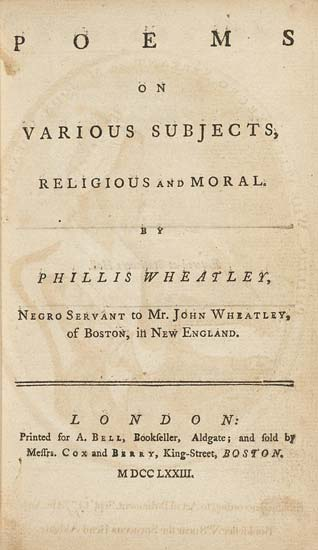 Phillis Wheatley title page